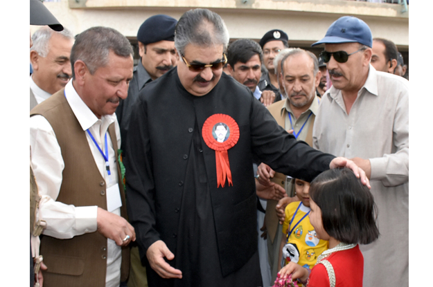 chief minister balochistan nawab sanaullah khan zehri seen at the concluding ceremony of the shaheed agha football tournament organised by shaheed talib agha foundation photo express