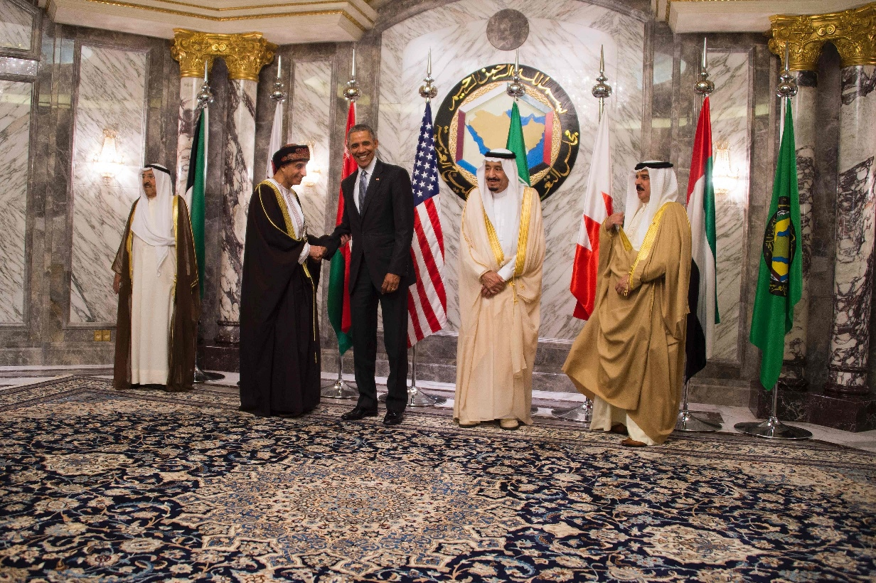 king of bahrain hamad bin isa al khalifa r king of saudi arabia salman bin abdulaziz al saud 2nd r and emir of kuwait sheikh sabah al ahmed al sabah l look on as us president barack obama 3rd l shakes hands with oman deputy prime minister for the council of ministers sayyid fahd bin mahmoud al said 2nd l during the family photo for the us gulf cooperation council summit in riyadh on april 21 2016 photo afp