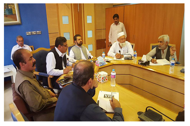 minister for local government inayatullah khan in a meeting with the management of wssp photo online