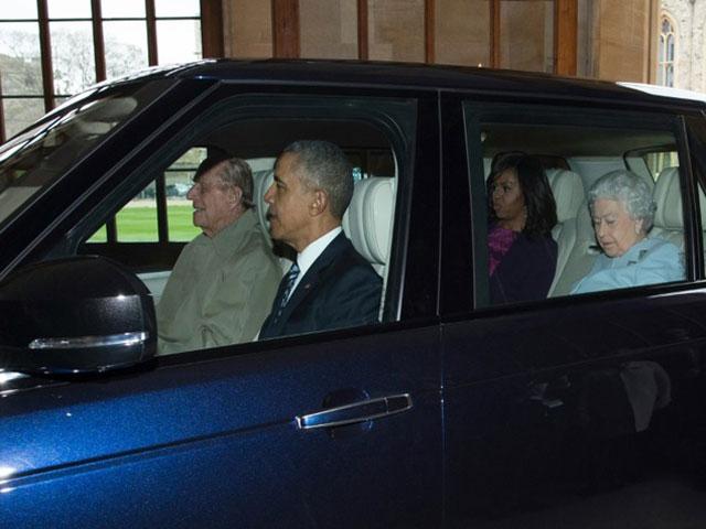 britain 039 s prince philip drives us president barack obama into windsor castle on april 22 2016 photo afp