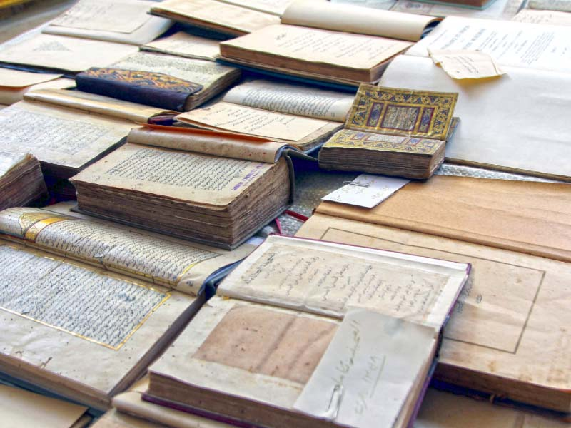a total of 35 texts including rare books manuscripts documents and historical maps preserved at university of karachi were put on display photo aysha saleem express