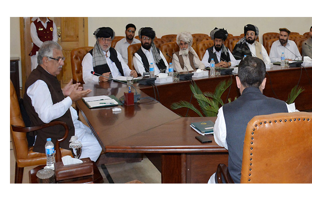 k p governor talking to a representative delegation of utman khel tribes photo nni