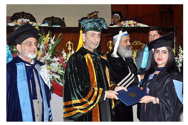 federal secretary for science and technology fazal abbas maken awarding degrees to the graduating students photo app