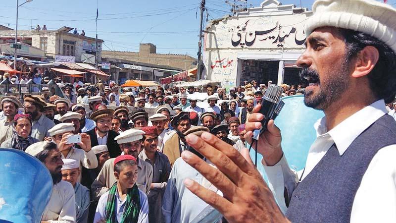 a fata political party member addresses participants photo express