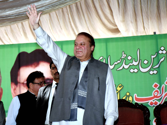 prime minister nawaz sharif waves to the crowd gathered to listen to his address in kotli sattian tehsil of rawalpindi on april 25 2016 photo pid