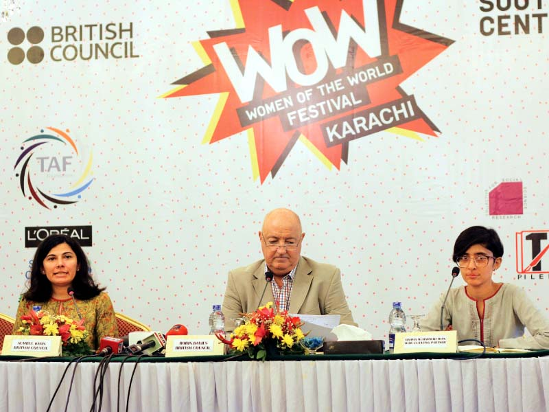 left right sumbul khan robin davies and rahma muhammad mian discussed what can be expected at the women of the world karachi festival that will be held at beach luxury this coming weekend photo ayesha mir express
