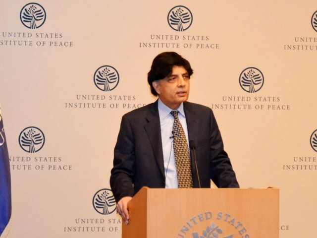 interior minister chaudhry nisar at us institute of peace on wednesday february 18 2015 photo pid