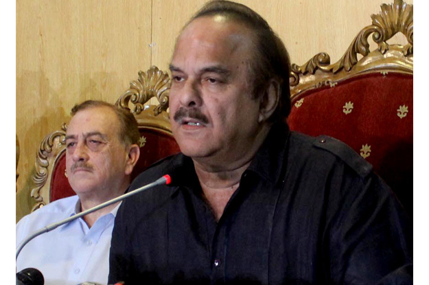 pakistan tehreek e insaf pti leader naeemul haq addressing a press conference in islamabad photo express