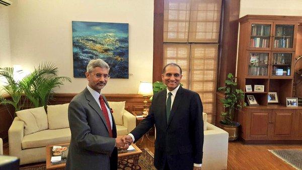 foreign secretary aizaz ahmed chaudhry shakes hands with his indian counterpart subrahmanyam jaishankar on tuesday photo mea india