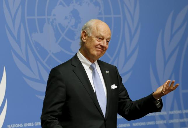 u n mediator staffan de mistura attends a news conference after the conclusion of a round of meetings during the syria peace talks at the united nations in geneva switzerland april 28 2016 photo reuters
