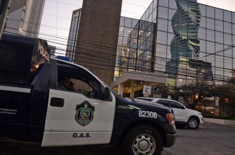 a police car outside the mossack fonseca law firm offices in panama city during a raid on april 12 2016 photo reuters