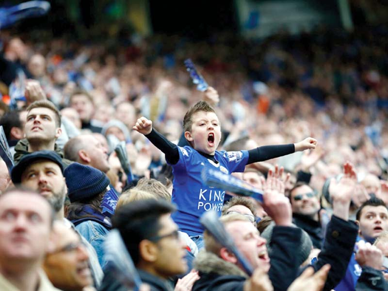 seven points clear of tottenham with three games remaining leicester will be crowned champions for the first time in their history if they prevail at the home of united photo reuters