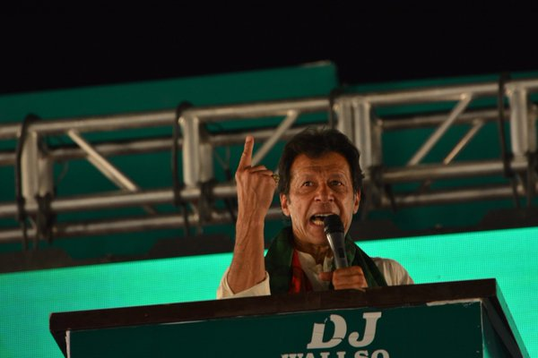 Imran Khan addresses PTI political rally in Lahore on May 1, 2016. PHOTO PTI
