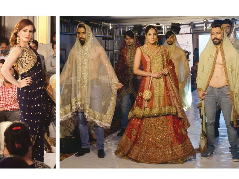 play of colour models flaunt bridal formal wear at ramp event