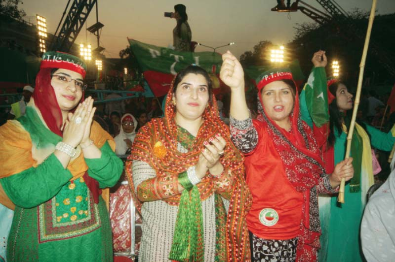 show of strength thousands flock to pti rally amid scorching heat
