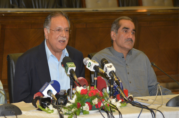 Information Minister Pervaiz Rashid speaking at a news conference at the PML-N Secretariat. PHOTO: PID