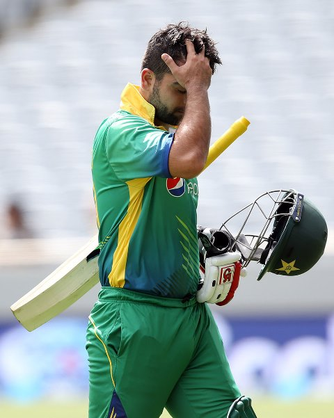 Ahmed Shehzad out for 12 against New Zealand in Auckland, on January 31, 2016. PHOTO: AFP