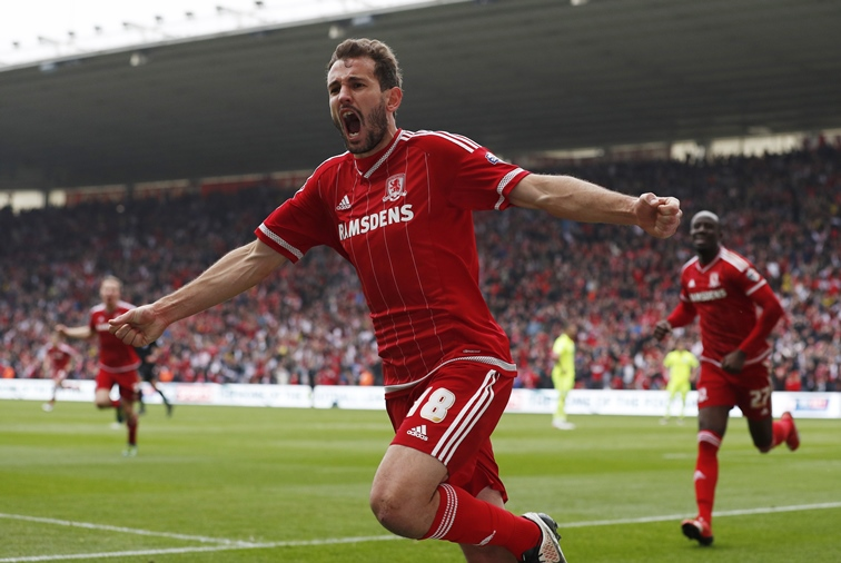 Cristhian Stuani celebrates after scoring the first goal for Middlesbrough. PHOTO: REUTERS