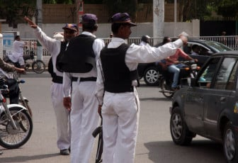 Last year 79 policemen - including four senior officials and nine traffic policemen - were shod dead by unknown gunmen. PHOTO: ATHAR KHAN/EXPRESS