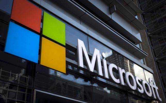 a microsoft logo is seen on an office building in new york city in this july 28 2015 photo reuters