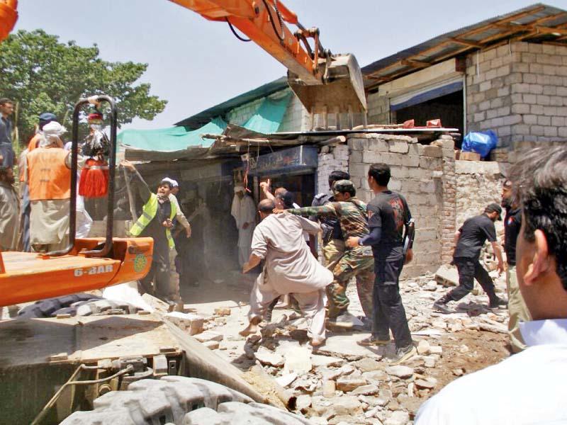 nine illegal structures demolished