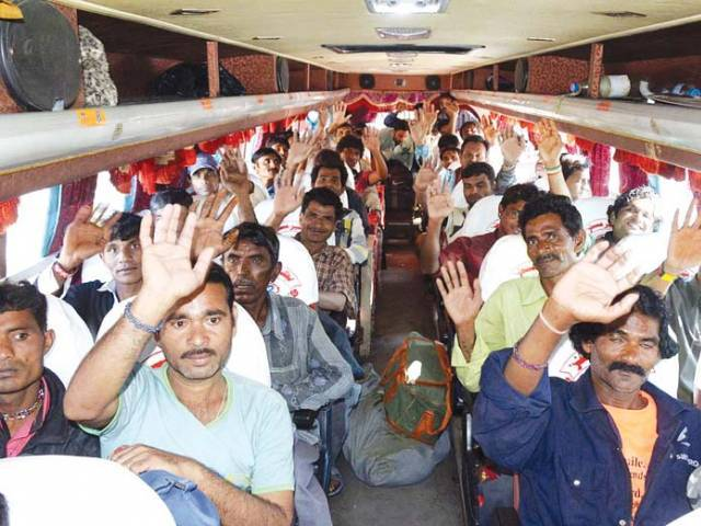 Indian fishermen were released from Karachi's Malir jail on Sunday. PHOTO: FILE