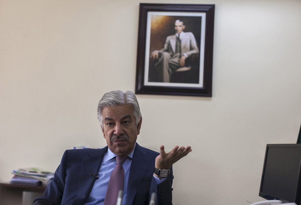 A file photo of Defence Minister Khawaja Asif. PHOTO: REUTERS