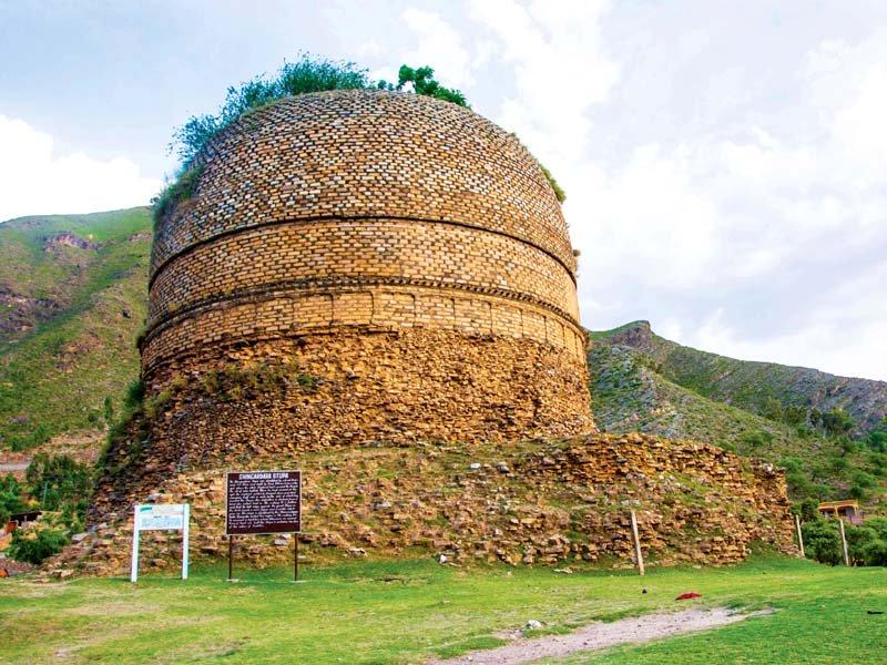 buddhist stupa near shingardar village photo fazal khaliq express