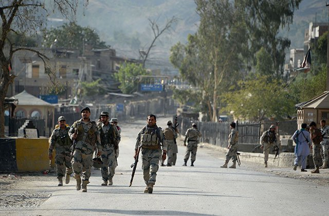 Reconstruction works have been started to fix the destruction of Torkhan border gate. PHOTO: AFP