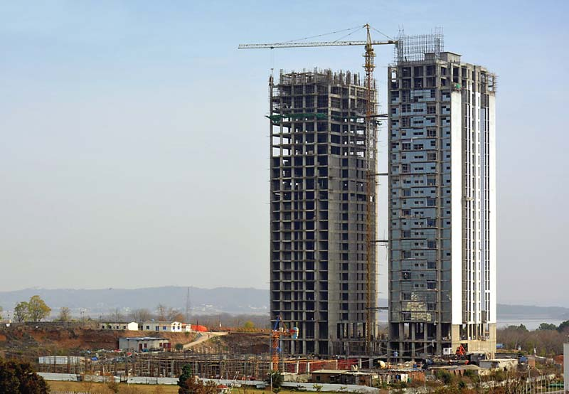 A view of the under construction multi-storey towers near Convention Centre. PHOTO: FILE