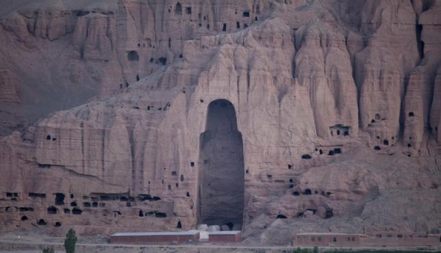 a close up view of the large buddha niche in bamiyan in central afghanistan august 16 2009 photo reuters