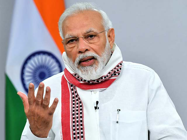 Narendra Modi addresses the nation during a government imposed lockdown. PHOTO: AFP