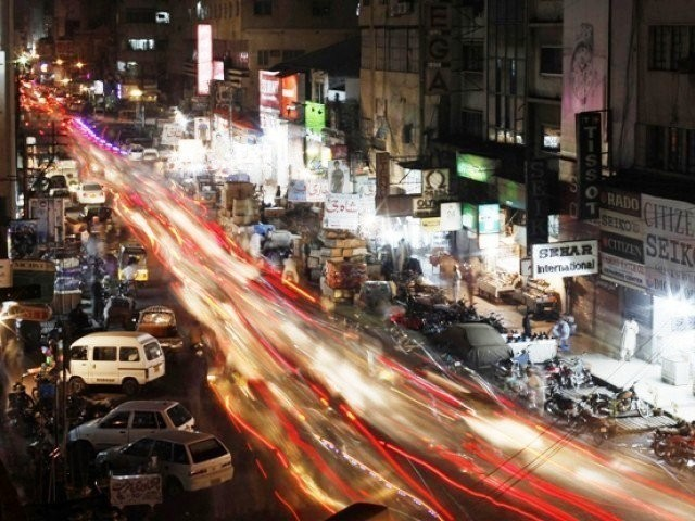 A view is seen of a busy street in Karachi. PHOTO: REUTERS