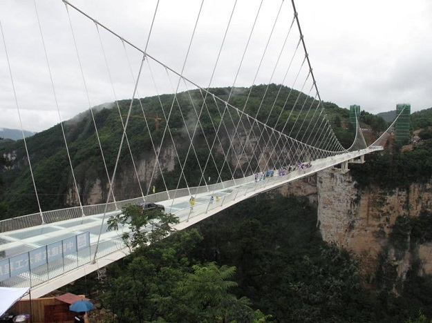 "The glass suspension bridge, known as ""Brave Men's Bridge"", is located in Shiniuzhai National Geological Park. PHOTO: REUTERS"
