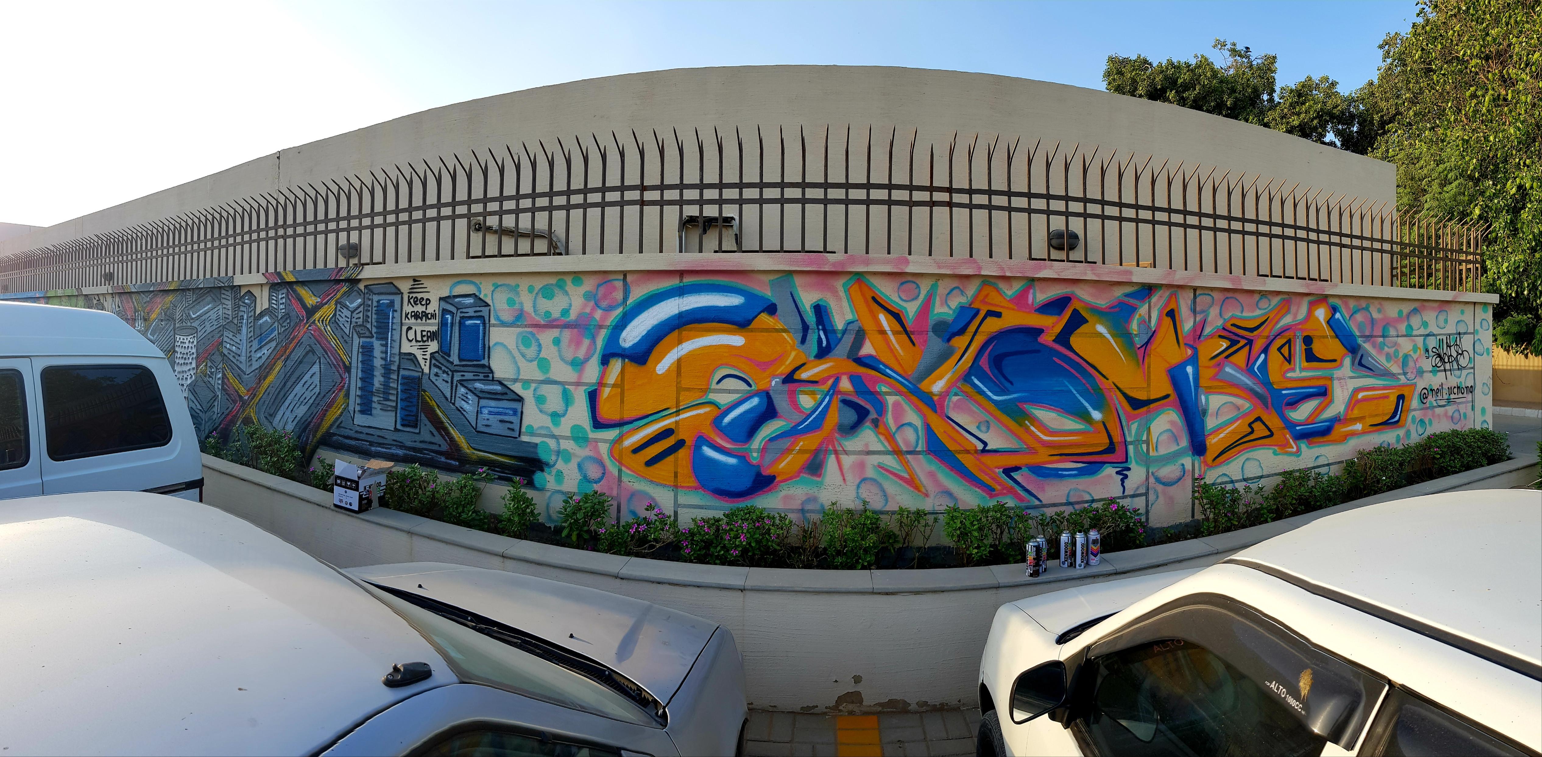 neil unchong s art spatter across the walls of karachi photo neil uchong quratulain ejaz