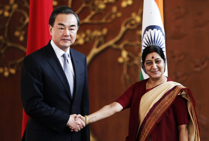 chinese foreign minister wang yei with indian counter part sushma swaraj photo reuters