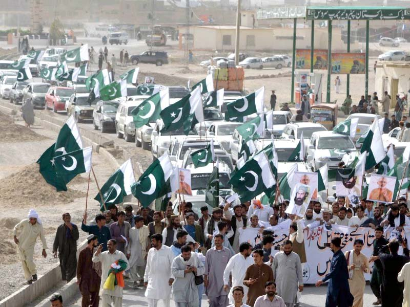 Protesters stage a rally in Chaman against Indian premier's remarks on Balochistan. PHOTO: INP