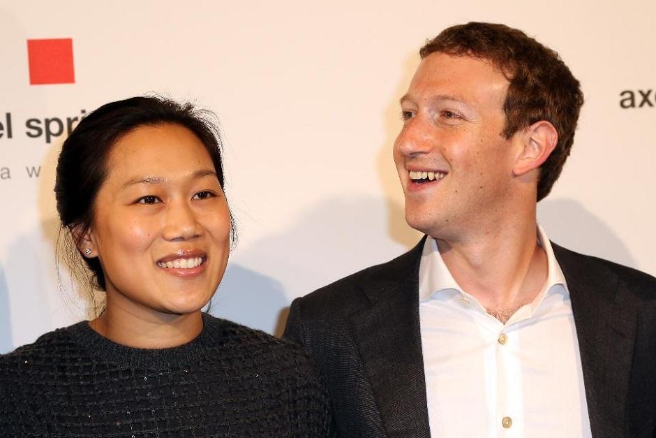 Priscilla Chan and Mark Zuckerberg. PHOTO: AFP