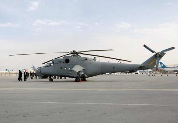 A helicopter donated by India is parked at the airport in Kabul, Afghanistan. PHOTO: REUTERS