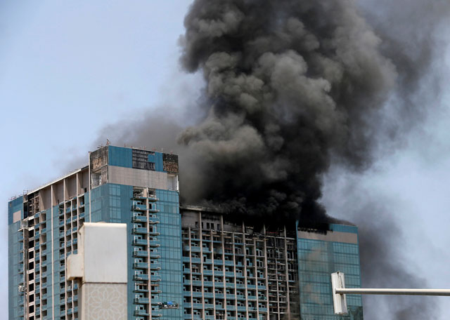 fire hits 28 floor abu dhabi tower under construction
