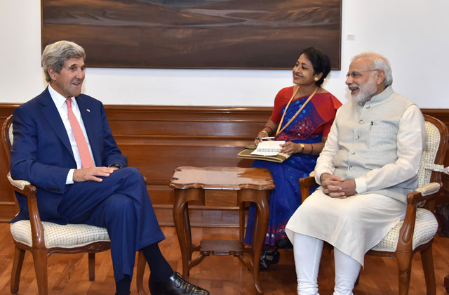 In this photograph released by the Press Information Bureau (PIB) on August 31, 2016,  US Secretary of State, John Kerry (L) calls on Indian Prime Minister, Narendra Modi (R) in New Delhi. PHOTO: AFP