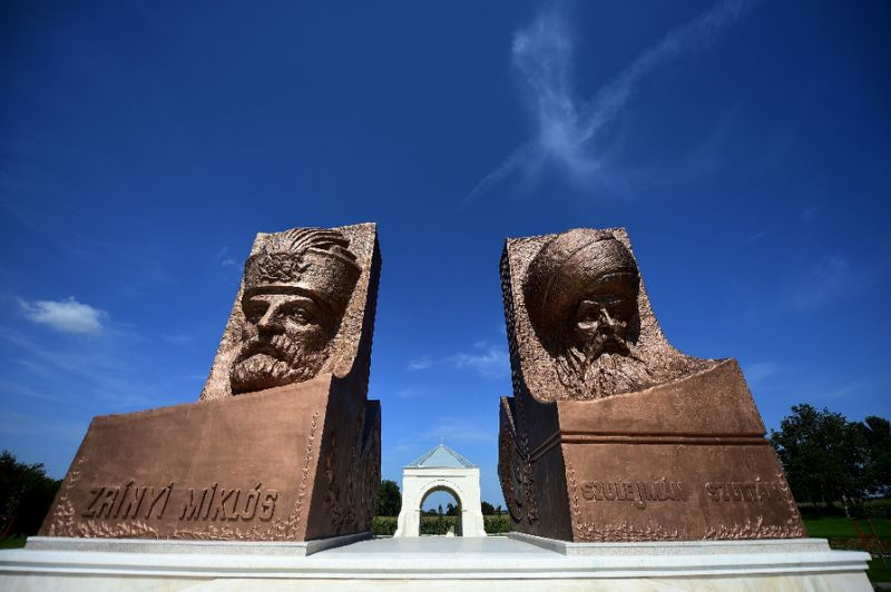 statues of ottoman sultan suleiman r and his opponent miklos zrinyi at the hungarian turkish friendship park near szigetvar photo reuters