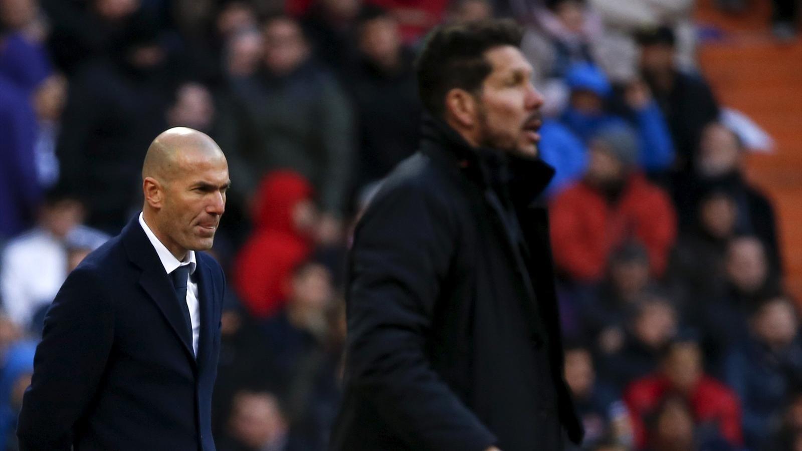 real madrid coach zinedine zidane l and atletico madrid boss diego simeone photo reuters