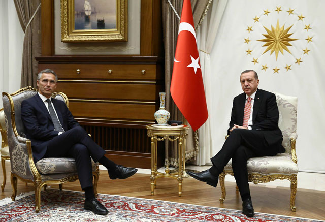 a picture released by the turkey 039 s presidential press service on september 8 2016 shows turkish president recep tayyip erdogan r and nato secretary general jens stoltenberg l posing during a meeting at the presidential palace in ankara photo afp
