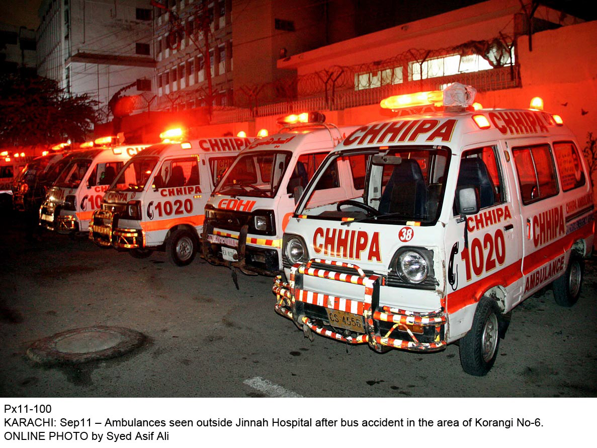 The bodies of the victims and the injured were shifted to the Taxila Tehsil Headquarters Hospital. PHOTO: ONLINE