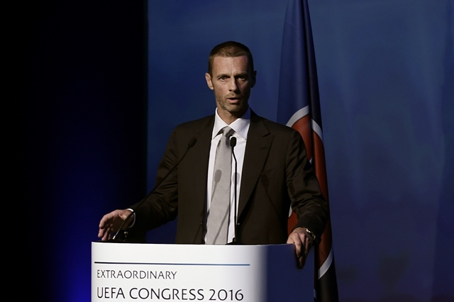 slovenia 039 s aleksander ceferin candidate for the uefa presidency delivers a speech during the opening of the 12th extraordinary uefa congress in lagonissi some 40 kilometers south of athens on september 14 2016 photo afp