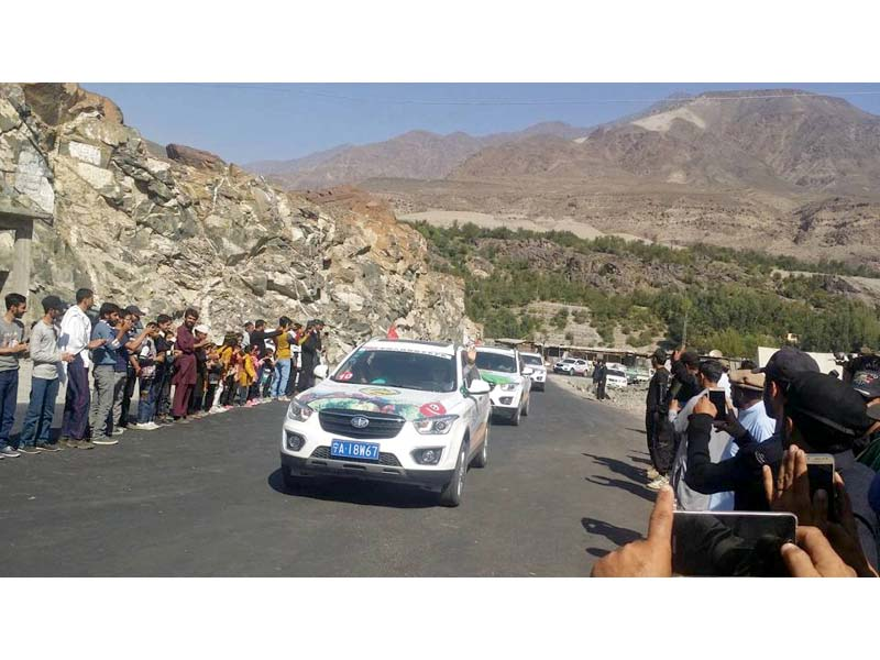 participants of china pakistan friendship car rally drive on a road in chilas photo express