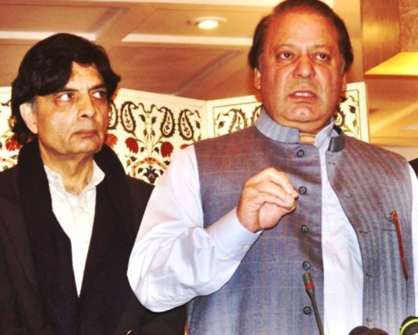 Prime Minister Nawaz Sharif (R) with Federal Interior Minister Chaudhry Nisar Ali Khan (L). PHOTO: FILE