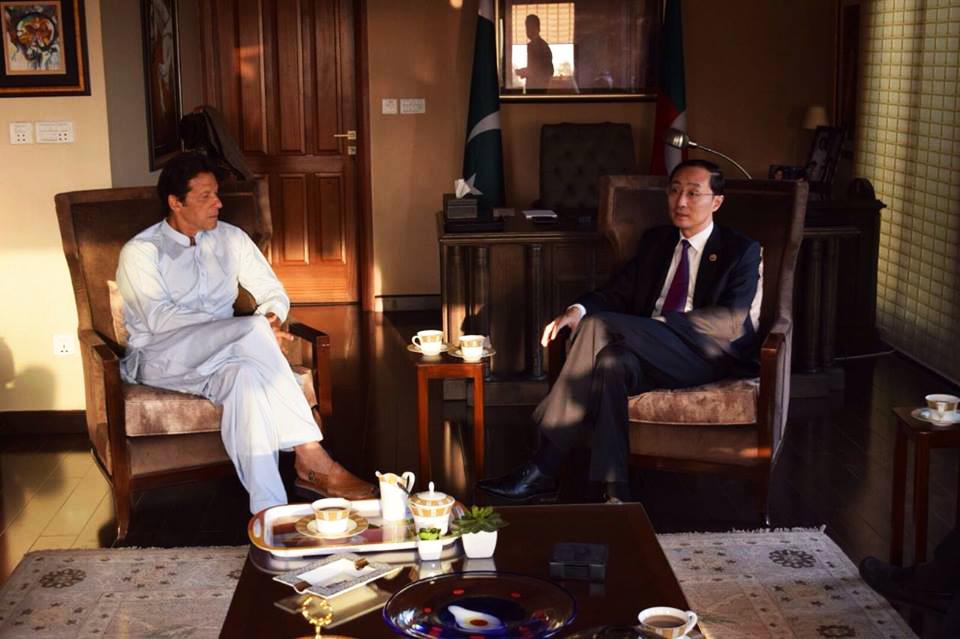 Chinese ambassador to Pakistan, Mr Sun Weidong, called on Chairman PTI Imran Khan at Bani Gala on Tuesday. PHOTO: IMRAN KHAN OFFICIAL/FACEBOOK