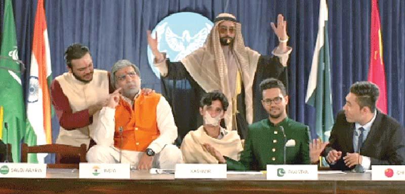 Ali Gul Pir, SomeWhatSuper stage fake Saarc meeting in the video of 'Modi Teri'. PHOTO: FILE